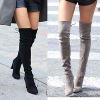 más el tamaño de las mujeres sobre las botas de rodilla al por mayor-Tallas grandes 43 Botas de mujer Botas sobre las rodillas Botas de invierno para mujer Calzado Hasta la rodilla Muslo Tacones altos Zapatos de invierno