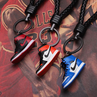 Wholesale shoes custom for sale - Group buy Brand Sneakers Joint Name Custom Made Keychain Pendant Couple Ornaments Creative Gift Basketball Shoes Key Chain Keyring Crafts