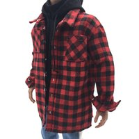 Wholesale 12 figure clothes resale online - 1 Scale Red Plaid Shirt Jacket Male Clothes for inch Men Action Figure Toy DIY Accessories