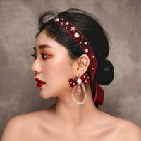 Baroque Red Velvet Headband and Earrings Set Flower Pearl Wedding Jewelry  Headdress Bridal Head Accessory Girls Hairband 94de881aacb1