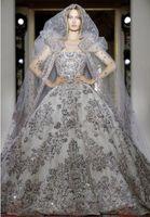 vestido de baile vestido de noiva prata venda por atacado-2020 Zuhair Murad Luxo Princesa Inchado Vestidos De Casamento Com Strapless Prata Lantejoulas Lace Up Voltar A Linha de vestido de Baile Sweep Trem Vestidos de Noiva