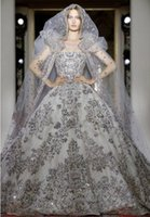 ingrosso zuhair murad abito da sposa indietro-2020 Zuhair Murad Luxury Princess Puffy Abiti da sposa con paillettes argento senza spalline Allaccia indietro una linea Abito da ballo Sweep Train Abiti da sposa