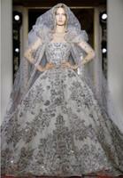 vestido de novia vestido de novia de plata al por mayor-2020 Zuhair Murad Luxury Princess Vestidos de novia hinchados con lentejuelas plateadas sin tirantes con cordones en la espalda Una línea Vestido de fiesta Barrido Tren Vestidos de novia