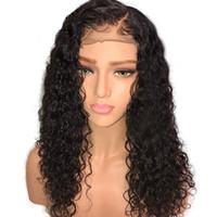 human hair wigs toptan satış-10A Brezilyalı Remy İnsan Saç Tutkalsız Dantel Ön Peruk Amerikan Için 150% Yoğunluk Doğal Saç Çizgisi Kıvırcık Dantel Peruk