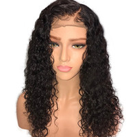 dantel peruk yapışkan saçlı saç toptan satış-Brezilyalı Remy İnsan Saç Tutkalsız Dantel Ön Peruk Amerikan Için 150% Yoğunluk Doğal Saç Çizgisi Kıvırcık Dantel Peruk
