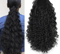 Wholesale african human hair extensions for sale - Group buy 12 Human clip In Warp Ponytail Hair Extension Short Afro Kinky Drawstring Ponytail African American Bun natural b g g