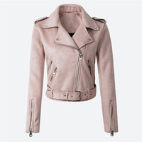 Wholesale faux leather suede jacket for sale - Group buy Women s Faux PU Leather Spring Suede Short Jacket Multy Zipper Motorcycle Coat Womens Autumn Dropshipping Biker Jackets
