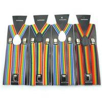 ingrosso uomini di bretelle bretelle-2.5X100CM arcobaleno striscia di cinghie donne / uomo di Y-back della bretella per adulti Clip-on Bretelle elastiche regolabili cinghie bretelle a righe GGA2859 caldo