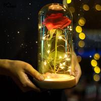 güller lambaları toptan satış-YO CHO Güzellik ve Beast Yapay Çiçekler Şube İpek Plastik Şişeler Led Gül Şişe Lamba Içinde Sevgililer Günü Hediye Sahte Çiçekler