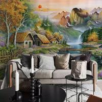 lona da natureza da pintura a óleo venda por atacado-Personalizado Mural não tecido Wallpaper Mountain Water Pequeno Chalé óleo da paisagem Nature Canvas Pintura Quarto Sala Wall Decor