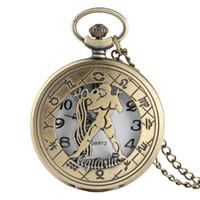 relógio de bolso do zodíaco venda por atacado-Charm 12 Constelação Astrologia Pocket Watch Colar Liberdade Sagitário Doze Constelações Zodiac Padrão Quartz Watch Necklace
