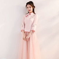 971ca81e332 Chinese bridesmaid dress 2018 new xiuhe Chinese style sister group dress  long ancient qipao skirt retro winter