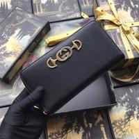 ingrosso portafoglio in pelle nera con zip-Nuova cerniera in pelle a grana 570661 con zip con cerniera borsa donna con pochette mini borsa a portafoglio donna di lusso di design in pelle nera bianca