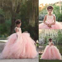 Wholesale wedding dress red pink flowers girl resale online - Pink Princess Flower Girl Dresses Ball Gown Appliques Spaghetti Straps Layers Long Kids Girls Pageant Formal Gowns Birthday Prom Dress
