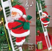 yılbaşı süsü el sanatları toptan satış-Elektrikli Tırmanma Merdiveni Noel Baba Noel heykelcik Süsleme Noel Partisi DIY El Sanatları Festivali Navidad 2020 Hediye