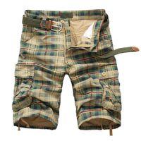 monos de camuflaje para hombre al por mayor-Pantalones cortos de los hombres 2019 moda a cuadros pantalones cortos de playa para hombre camuflaje ocasional de camuflaje pantalones cortos para hombre Bermudas Overol cargo