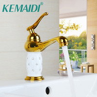 Wholesale vanity wash basins resale online - KEMAIDI RU Bathroom Wash Basin Faucet Deck Mount Vessel Vanity Tap Sink Mixer Soild Brass Gold Diamond Crystal Body Tap