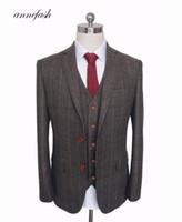 traje a medida hombres tweed al por mayor-Por encargo de lana de color marrón oscuro Herringbone Tweed estilo británico para hombre sastre slim fit Blazer hombres de la boda traje 3 unids