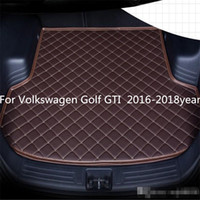 Wholesale volkswagen golf gti resale online - For Volkswagen Golf GTI year s Car Anti skid Trunk Mat Waterproof Leather Carpet Car Trunk Mat Flat Pad