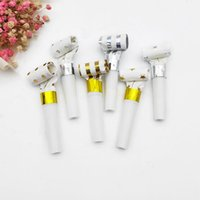 Wholesale gold whistle resale online - 20pcs Foil Gold Silver Noise makers Star Dot Stripe Blowers Whistle Noisemaker Musical Blow Outs for Kids Birthday Party XD22482
