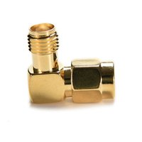 Wholesale male female jack plugs resale online - 3PCS pc SMA Male Plug to Female Jack RF Coax Adapter convertor Right Angle goldplated Degree Right Angle Gold