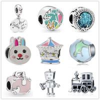Wholesale movie robot resale online - new MOQ silver sister train robot bunny i love to travel dinosaur bird diy bead Fit origianl Pandora Charm Bracelet D051