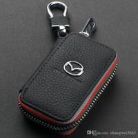 чехлы для ключей от mazda оптовых-Брелок из натуральной кожи для ключей от автомобиля. Чехол-подставка для Mazda VW TOYOTA BMW AUDI Citroen Hyundai Buick Benz Honda Lexus Chevrolet
