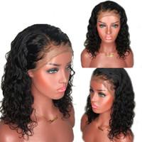 color lace front wigs achat en gros de-Perruque frisée brésilienne avant de lacet perruques de cheveux humains pour les femmes couleur naturelle préplumée pleine perruque de dentelle avec des cheveux de bébé