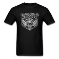 siyah kabile dövmeleri toptan satış-Etnik Ayı Başar Serin Erkekler Siyah T-shirt% 100% Pamuk Kısa Kollu Hayvan Tribal Dövme Chic Tasarım Erkek Tişört Tops