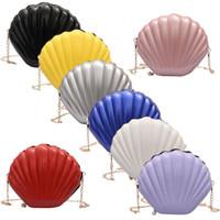 Wholesale shell shaped bags resale online - Stylish Fashion Lady Seashell Shape Shoulder Bag Laser Mermaid Sea Shell Chain Purse Cross Body New