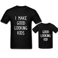 camisa de bebé madre al por mayor-Paquete familiar Tops casuales Impresión de letras O-cuello Negro Camiseta de manga corta Madre Bebé Hija Trajes a juego Adultos Casual Tops XXXL