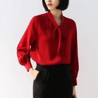 chemise en mousseline de corée achat en gros de-Bureau Lady Chemises formelle Corée style pied de col en mousseline de soie Hauts-Rouge Blanc Lanterne Vêtements manches Tempérament femmes Blouses