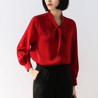 ingrosso camicia chiffona della corea-Ufficio Lady Camicie formale della Corea di stile del collare del basamento chiffon Top Rosso Bianco Lanterna Abbigliamento manica Temperamento camicette delle donne