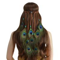 acessórios de cabelo boêmio artesanal venda por atacado-Headband da pena Mulheres Cocar Boêmio Pena de Pavão Frisado Artesanal Faixas de Cabelo Acessórios Para o Cabelo Boho Hippie Ajustável Favor de Partido