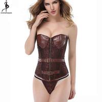 corset thongs venda por atacado-Taça de couro Espartilho Pirata Steampunk 6XL Plus Size Korse Gothique Bustier Sexy Cosplay Retro Gorset Zip Up Rebite Korset Tangas
