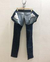 2020 New Women's fashion cotton zipper crotchless denim jeans