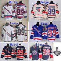 ingrosso ny blu jersey-2016 nuovi, ECONOMICI New York Rangers maglie di hockey su ghiaccio NY # 99 Wayne Gretzky Jersey (BLU BIANCO) maglie cucite autentiche, Siz
