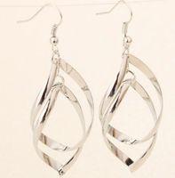 ol-legierung großhandel-2019 neue Mädchen Diamant Ohrringe Verzerrung mehrschichtige glänzende Legierung Ohrringe 2-Ring-Dame OL klassischen Stil Großhandel