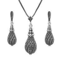 kızlar için gümüş inciler toptan satış-Inci Kristal Küpe Kolye Kolye Set Metal Alaşım Retro Kabak Şekli Gümüş Kaplama Takı Setleri Kadınlar için Kız Düğün Hediyesi