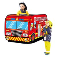 Wholesale up house tent resale online - Kids Pop Up Play Tent Toy Foldable Playhouse Cloth Fire Truck Car Game House Bus