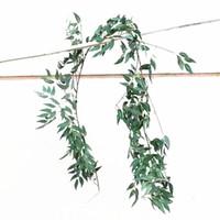 ingrosso appiccicoso foglia di foglie-Cane Vine Willow Leaf Artificiale Wall Hanging Fiore Fiori di seta Decorazione del partito Bianco Verde Vendita calda 16hz E1