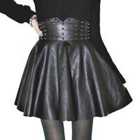 gefalteter pu-rock großhandel-Frauen Rock Sexy Mode Pu Leder Hohe Taille Röcke Frauen Niet Gefaltete A-linie Minirock Plus Größe Frauen Kleidung Y19050502