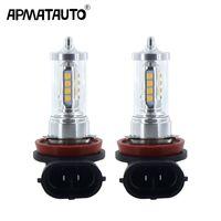 lámpara de niebla vw al por mayor-2x H8 H9 H11 H16 (JP) 9005 9006 HB4 Luz antiniebla LED DRL Lámpara de circulación diurna + Decodificadores Canbus para VW