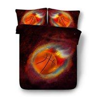 baumwoll-doppel-bettbezug-sets großhandel-NEUE 3D Bett Set Baumwolle Basketball Feuer Bettbezug Sets Fußball Einzel / Doppel Größe Bettbezug Bettwäsche Set Motion Bettwäsche Kit