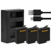 caméra portuaire achat en gros de-Batterie 3pcs avec chargeur de batterie à trois ports USB pour GoPro Hero 7 6 5 Black