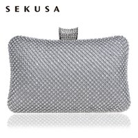 ingrosso frizione in argento strass-SEKUSA Diamonds Women Evening Bags Silver / Black / Gold Chain Shoulder Day Clutch Borse strass per matrimonio