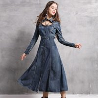 Wholesale united pipe resale online - 2019 Europe And The United States Hot New Word Collar Embroidery Denim Retro Dress Long Skirt