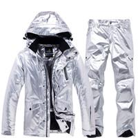 ceket pantolon kayak toptan satış-Serin Shining Gümüş Erkek Kadın Kayak Takım Kış Termal Su Geçirmez Rüzgar Geçirmez Snowboard Ceket Pantolon Kayak Kadın Kar Suits Giymek