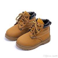 botas de nieve para niñas pequeñas al por mayor-Comfy Kids Winter Fashion Botas de nieve de cuero para niños para niñas Chicos Calientes Botas Martin Zapatos Casual Felpa Niño Bebé Toddler Shoes
