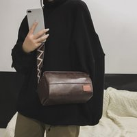 ingrosso cinturino in pelle marrone-[Super Seabob] 2019 Primavera Estate Donna New Brown Colore Single Strap Spliced ​​Zipper PU Leather Messenger Bag All Match LM090